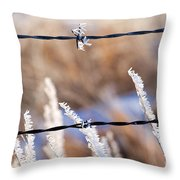 Frosted Fence Line Throw Pillow