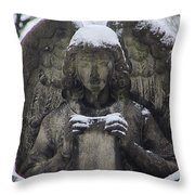 Frosted Stone Angel Throw Pillow