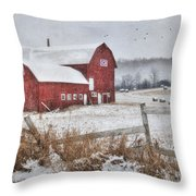 Frosted Hay Bales Throw Pillow