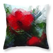 Frosted Hibiscus 3 Throw Pillow
