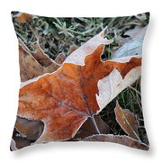 Frosted Leafs Throw Pillow