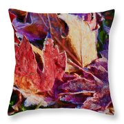 Frosted Leaves #2 - Painted Throw Pillow