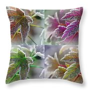 Frosted Maple Leaves In Warm Shades Throw Pillow
