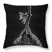 Frosted Pine Branch Throw Pillow