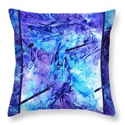 Frozen Castle Window Blue Abstract Throw Pillow