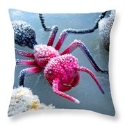 Frosty Ant In Winter Throw Pillow