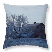 Frosty Barn Throw Pillow