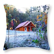 Frosty Cabin Throw Pillow