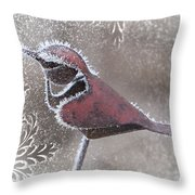 Frosty Cardinal Throw Pillow