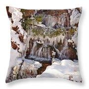 Frosty Cascades Throw Pillow