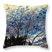 Frosty Fall Tree Throw Pillow