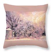 Frosty Farm Throw Pillow