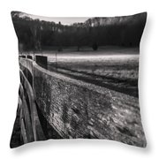 frosty fence in rural Indiana Throw Pillow
