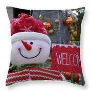 Frosty Greetings Throw Pillow