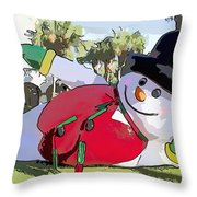 Frosty Is Here Throw Pillow