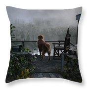 Frosty Morning Golden Throw Pillow
