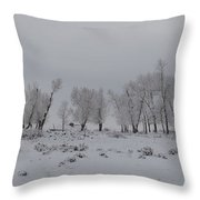 Frosty Morning Tree Line Throw Pillow