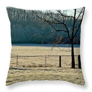 Frosty Morning Winter Landscape Throw Pillow