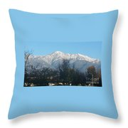Frosty Mountain Top View From Rancho Cucamonga Ca. Throw Pillow