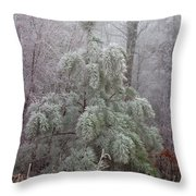 Frosty Pine Throw Pillow