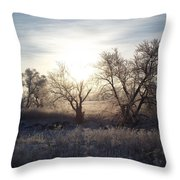 Frosty Rise Throw Pillow