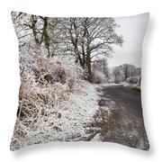 Frosty Road Throw Pillow