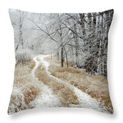 Frosty Trail Throw Pillow