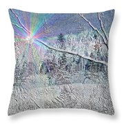Frosty Window Distant Sun Throw Pillow