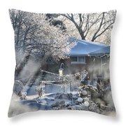 Frosty Winter Window Throw Pillow