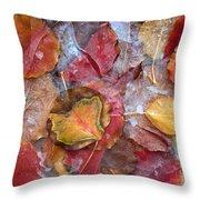 Frozen Autumn Aspen Leaves Throw Pillow