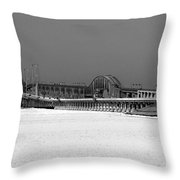 Frozen Bay Bridge Throw Pillow