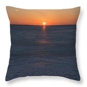Frozen Bay Sunset Jersey Shore Throw Pillow