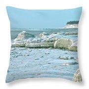 Frozen Beach Throw Pillow
