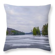 Frozen Bear Creek Lake Throw Pillow