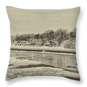 Frozen Boathouse Row In Sepia Throw Pillow