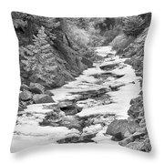 Frozen Boulder Creek Boulder Canyon Colorado Bw Throw Pillow