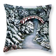 Frozen Brook - Winter - Bridge Throw Pillow