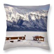 Lake Minnewanka, Alberta - Banff - Frozen Docks Throw Pillow