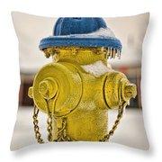 Frozen Fire Hydrant Throw Pillow
