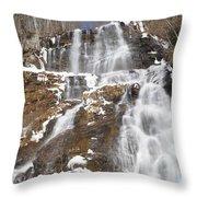Frozen Falls From The Bridge Throw Pillow