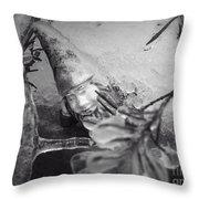 Frozen Gnome Black And White Throw Pillow