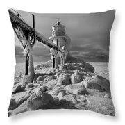 Frozen Grand Haven Lighthouse Black And White Throw Pillow
