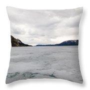 Frozen Lake Laberge Yukon Canada Throw Pillow