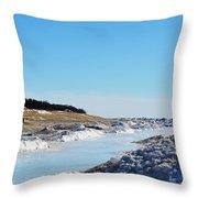 Frozen Lake Michigan Throw Pillow