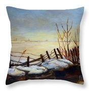 Frozen Lake Near Ste. Adele Throw Pillow