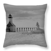Frozen Lighthouses In Michigan Throw Pillow
