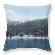 Frozen Mountain Lake Throw Pillow