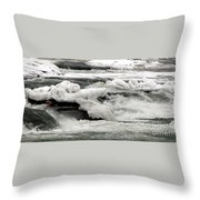 Frozen Niagara River Rapids Above Niagara Falls Throw Pillow