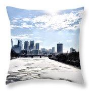 Frozen Philadelphia Cityscape Throw Pillow