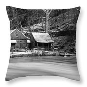 Frozen Pond In Black And White Throw Pillow